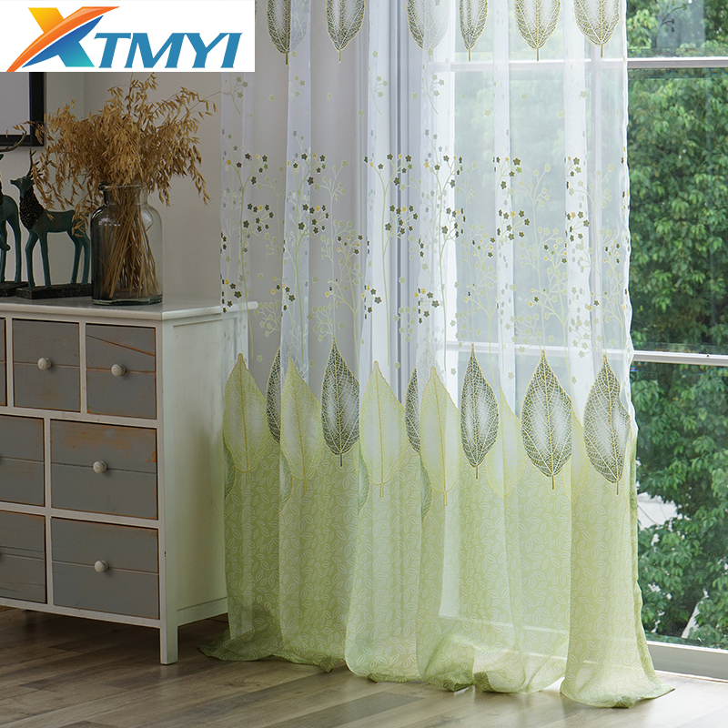US $4.23 45% OFF|Modern green leaves tulle window kitchen curtains for  bedroom curtains for living room Fabric-in Curtains from Home & Garden on  ...
