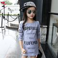 Fashion Girls T Shirt Long Sleeve 2017 New O-neck Long Sleeve Letter Irregular Child Girls T Shirt Kids Child Girls T Shirt