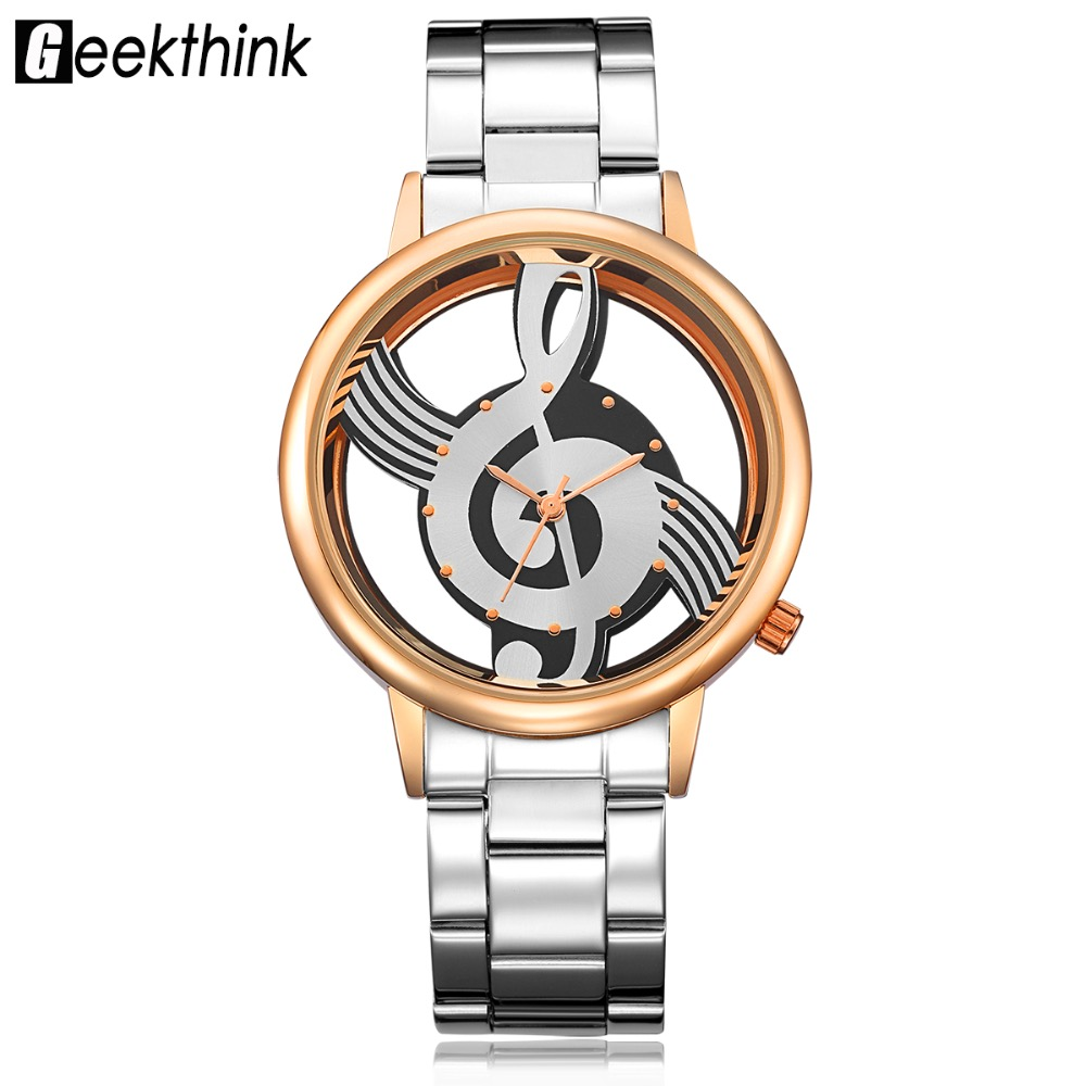 New Simple Casual Style Quartz Movement Women's Wristwatch Music Note Watch Stainless Steel Ladies Dress Relogio Feminino