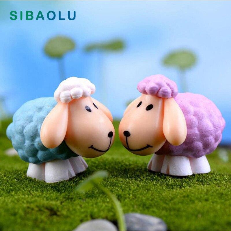 Mini Cute Big Ear Cartoon Sheep Goat Figurine Animal Model Home Decor Miniature Fairy Garden Decoration Accessories Modern Craft
