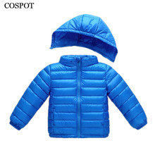 COSPOT Winter Down Jacket for Girls Baby Boys Light White Duck Jackets 2017 New Arrived Kids Plain Color Hooded Down Coat 25C