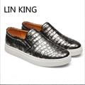 LIN REY de Los Hombres Perezosos Zapatos Planos de La Vendimia Mocasines Slip On Low Top Zapatos Casuales Zapatos Respirables del Otoño del Resorte Sólido de Gran Tamaño 47