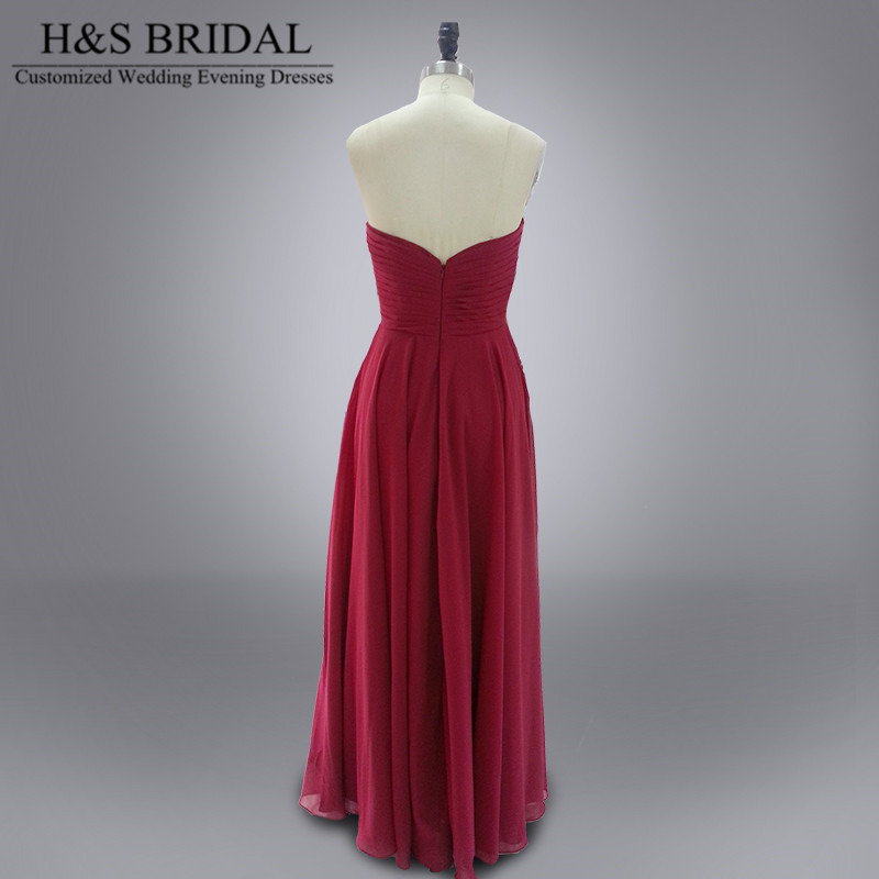 Real photo Navy Red Sweetheart Backless long chiffon cheap   bridesmaid     dresses