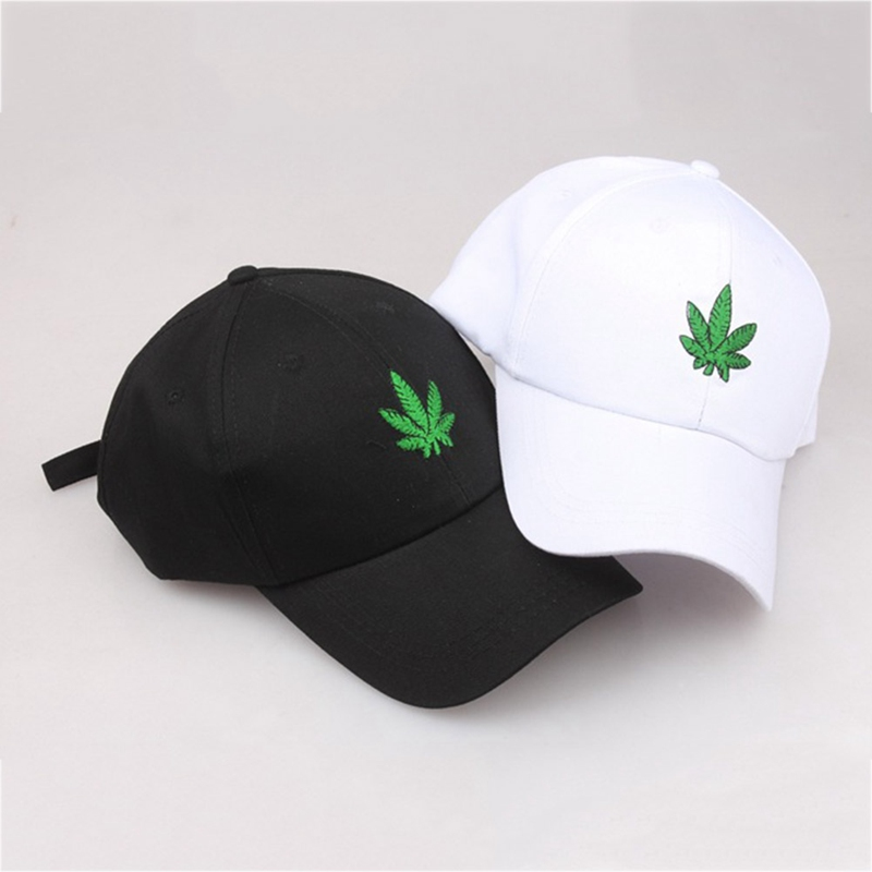 2018 New Fashion Embroidery  Leaf White Cap Weed Snapback Hats For Men Women Cotton  Hip Hop Fitted Baseball Caps