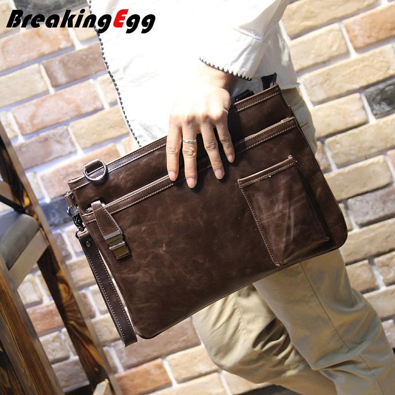 Quality PU leather men envelope clutch bag vintage men