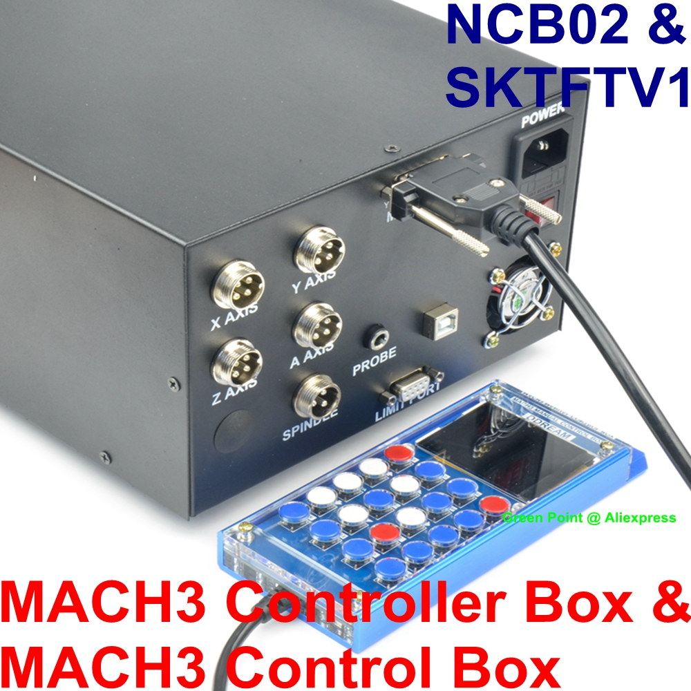US $278 0 |MACH3 USB Pote 4 Axis Controller Box NCB02 CNC Engraving Machine  Control Box + MACH3 SKTFTV1 Hand Control Box With Screen-in Instrument