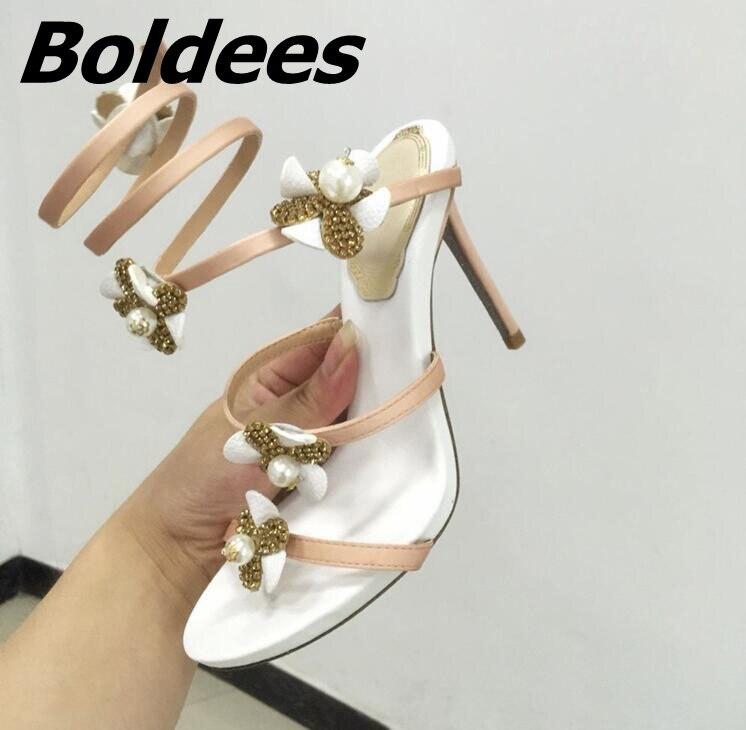 Boldees Мода цветы украшены кристаллами Римские сандалии Для женщин Высокие каблуки знаменитости в том же со стразами платье сандалии - 2