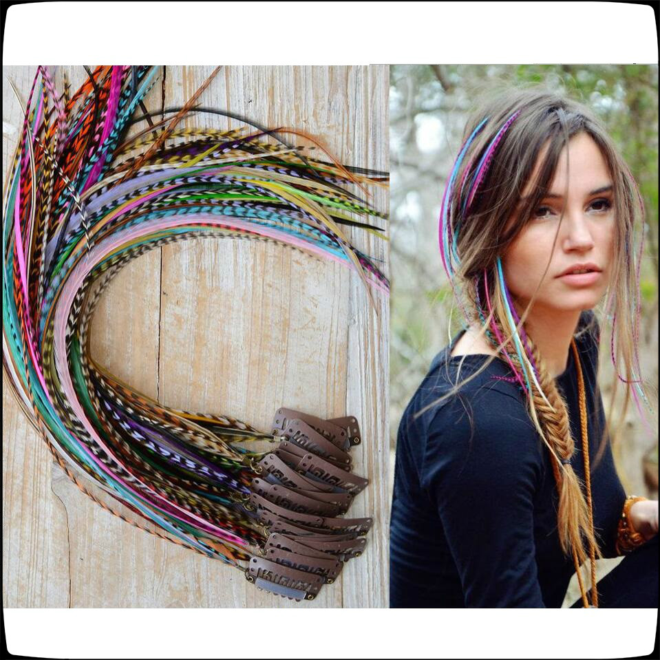 For Handmade Feather Clip Hair Extension Bling Bling Hair Accessory U Shap Snap Metal Only Hair Clips 12Pcs Sale 32MM