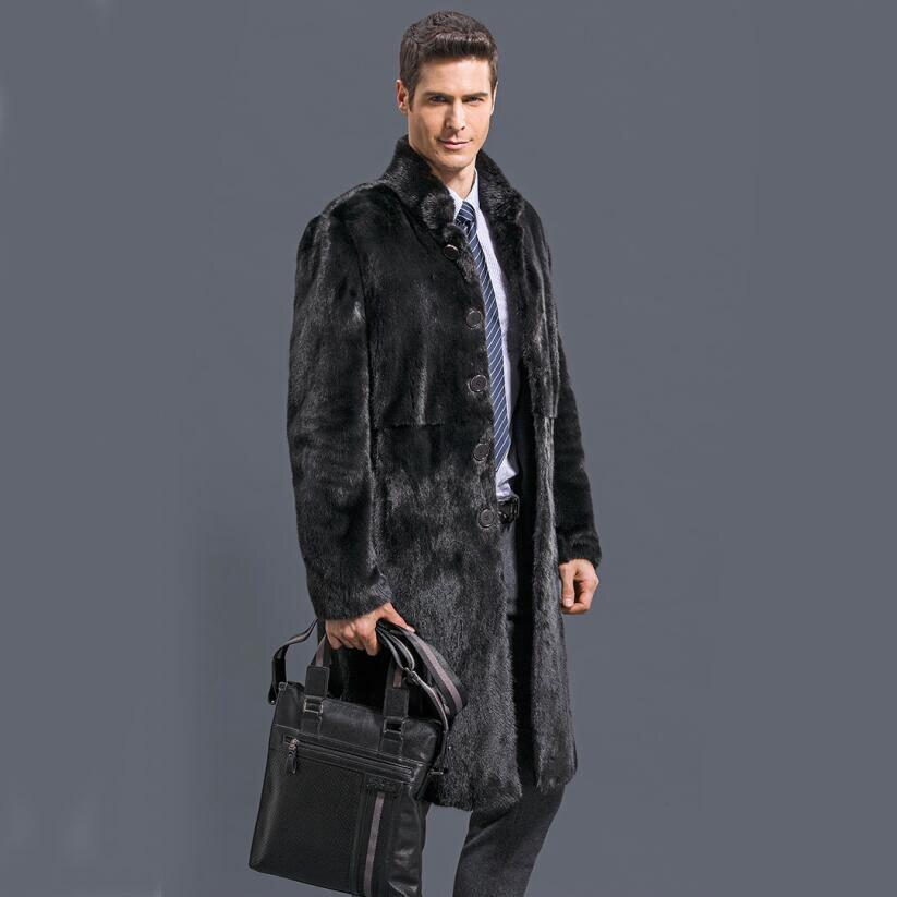 2017 new fashion Male marten velvet mink overcoat outerwear Men black faux fur overcoat fur coat winter warm thicking outwear