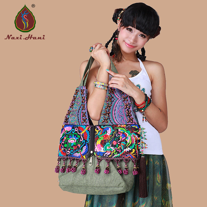 Bohemia crystal flowers tassel shoulder bags Naxi Hani brand Vintage embroidered linen women bags