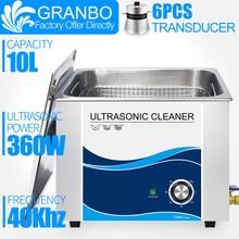 Granbo 360W 10L Paslanmaz Ultrasonik Tabancası Temizleyici Zamanlayıcı ile Ultrason Yıkayıcı Mermi Kabuk Donanım PCB Metal Parçaları