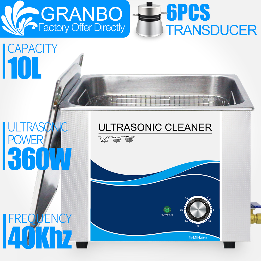 Granbo 360W 10L Stainless Ultrasonic Gun Cleaner with Timer Ultrasound Washer for Bullets Shell Hardware PCB Metal PartsUltrasonic Cleaners   -