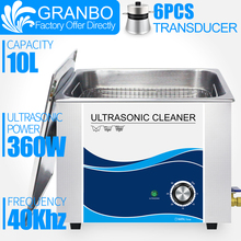 Granbo 360W 10L Stainless Ultrasonic Gun Cleaner with Timer Ultrasound Washer for Bullets Shell Hardware PCB Metal Parts