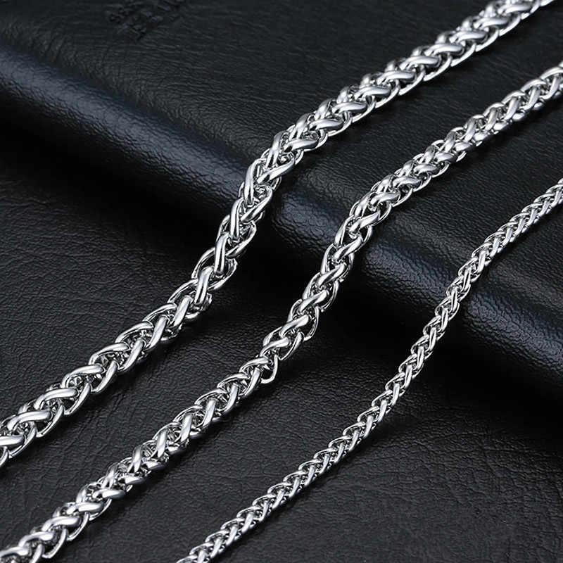 KLDY 316L ze stali nierdzewnej łańcuch na szyję dla mężczyzn Gothic naszyjnik łańcuch dla mężczyzn srebrny Spiga warkocz łańcuch biżuteria hurtownik grossiste