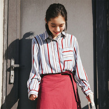 Spring Casual Loose Irregular Striped Shirt Single Breasted Long Sleeved Shirt Turndown Collar All-match Style For Women