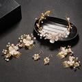 2016 de la Perla Simulada Pétalo Hojas de Oro Peinetas Diademas Accesorios Pelo de La Boda Joyería Tiara Noiva acessórios para mulher