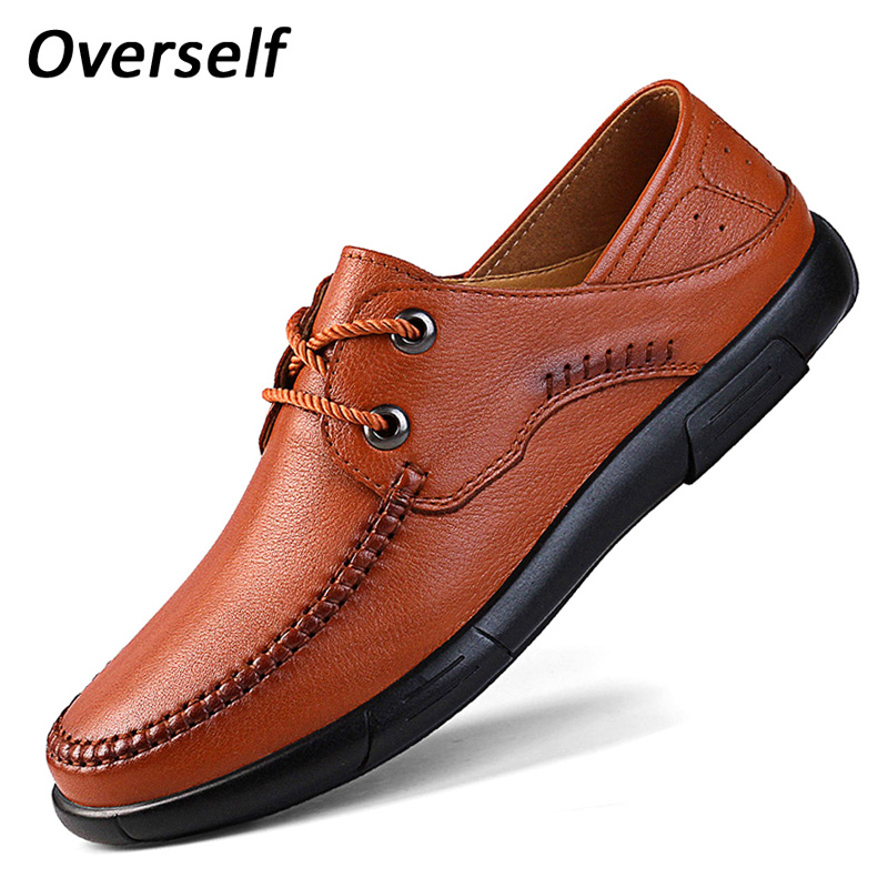 Breathable men's dress causal shoes leather luxury brand mens loafers moccasins slip on men soft shoe flats for man