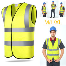Reflective M/L/XL Vest Safety Security Visibility Jacket Construction Traffic Worker 3DTridimensional Tailoring Permeable Yellow