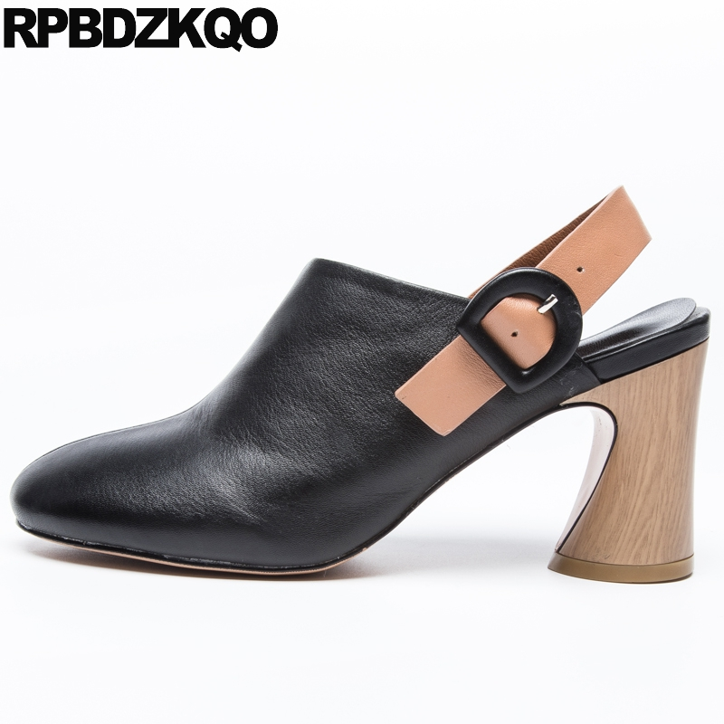 Genuine Leather Block Heels Slingback Brand Size 4 34 Round Toe Women Black Strap Shoes Sandals Thick Pumps High 3 Inch 2018 sandals metal strap pumps square toe beige vintage medium 2017 women shoes high heels size 33 slingback belts block chinese