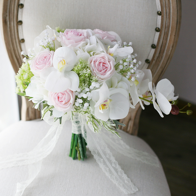 white orchid hydrangeas pink roses bouquet wedding bridal floral ...