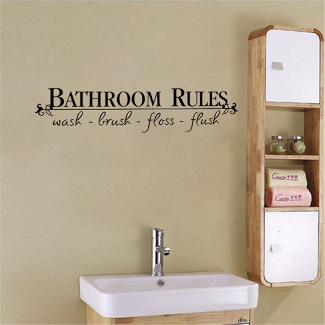 Removable diy wall sticker letter quotbathroom rulesquot vinyl for Bathroom wall letters