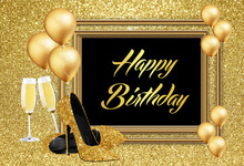 Custom gold Birthday party Gold Glitter black Photography backdrops Studio Photo backgrounds for photo photographers