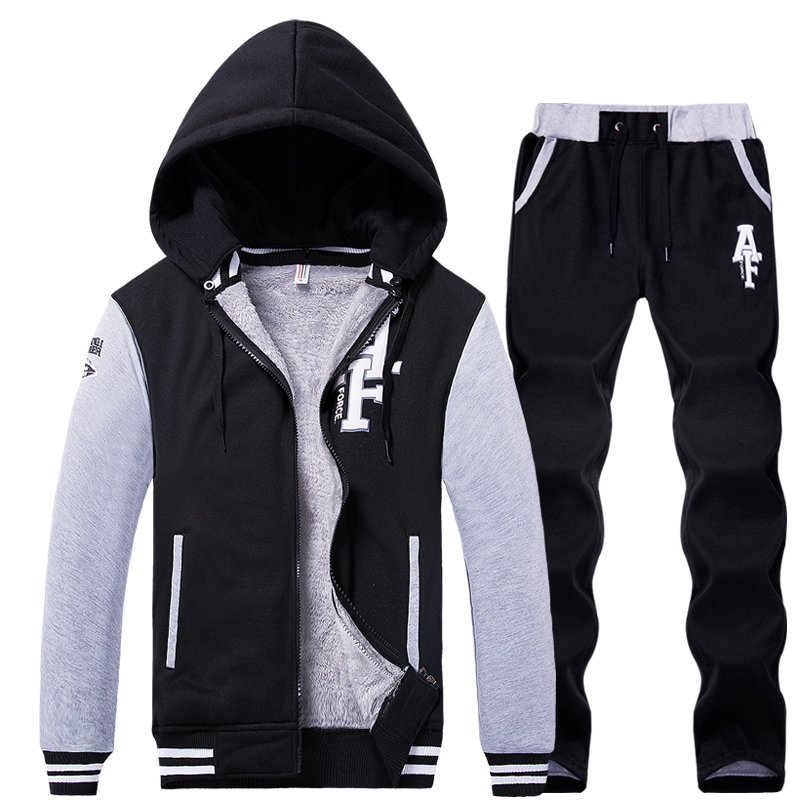 Men Set 2 Piece Hoodie & Pants Men Sport Set Suit Tracksuit Hooded Zipper Brand Hoodies Jacket Coat Sweatpants Sweatshirt Man