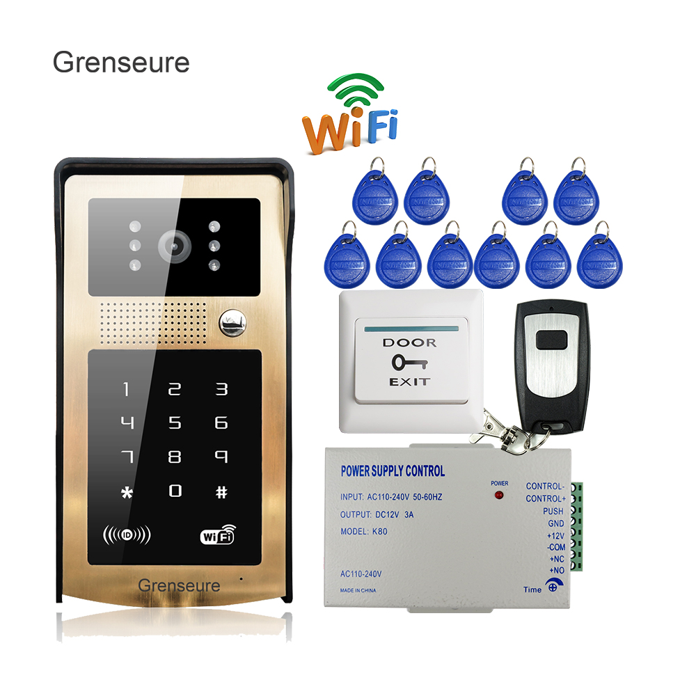 Free Shipping Wifi Video Door Phone Intercom Kit Golden Metal Waterproof Doorbell RFID Code Keypad for IOS Android Phone +Remote free shipping wire 7 lcd monitor video intercom door phone kit waterproof rfid code keypad doorbell camera magnetic lock
