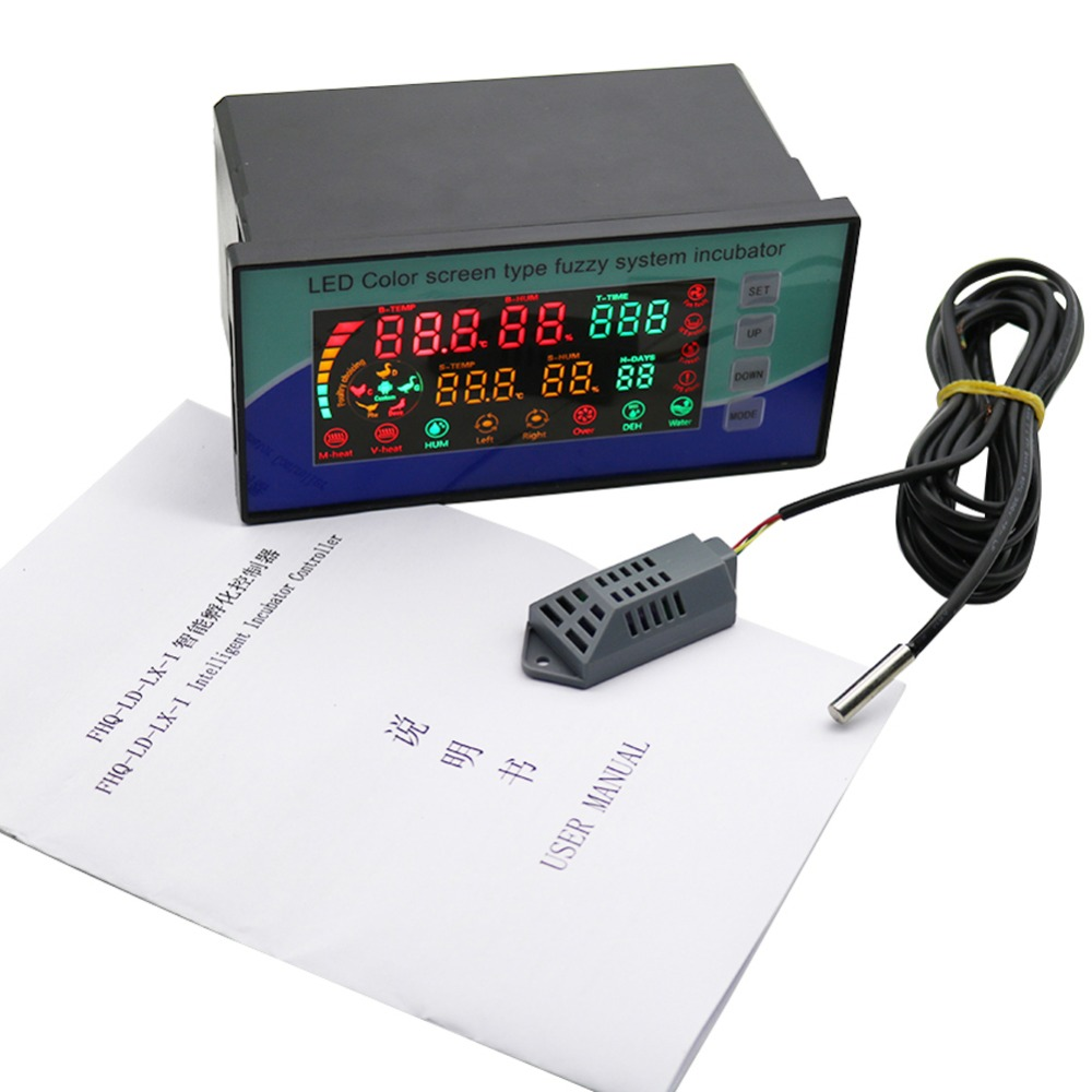 110V 220V Poultry Intelligent LED Color Screen System Incubator Chicken Bird Temperature Humidity Incubator Controller 1