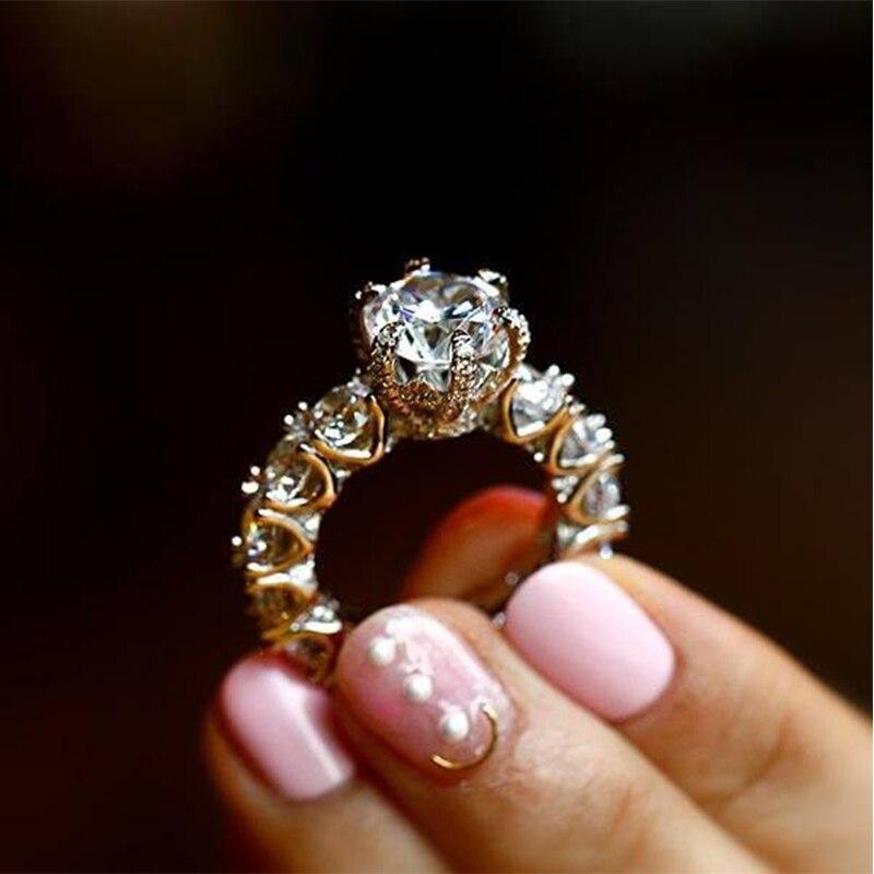 LESF bijoux de luxe bague femmes 4 carats taille ronde Premium Zircon 925 en argent Sterling mode bague de fiançailles bienvenue personnalisé - 6