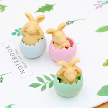 1pc/lot Kawaii Stationery Eggshell Rabbit Eraser Pencil Party Gift Rubber Erasers Toy For Kids School Student Office Supplies
