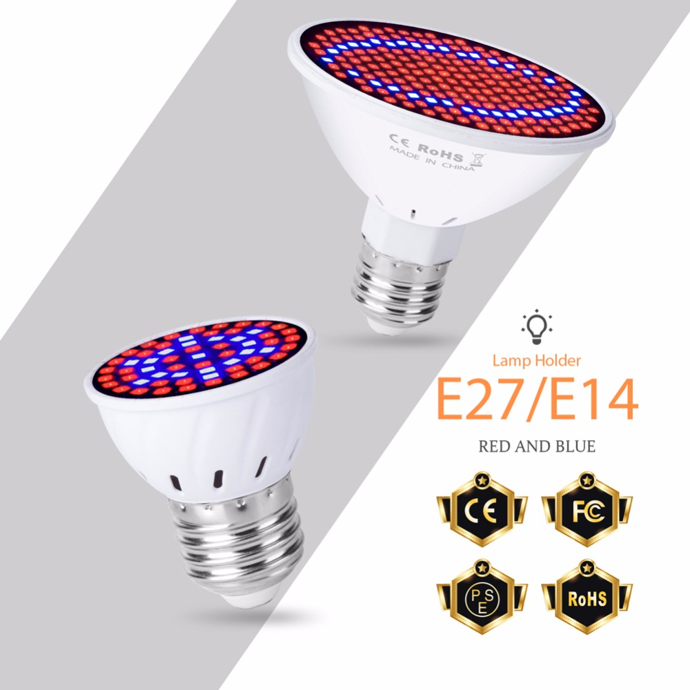 GU10 Grow LED Lights E27 Fitolamp LED Plant Lamp E14 48 60 80 126 200leds Phyto Lamp MR16 Full Spectrum B22 Indoor Growing Bulb