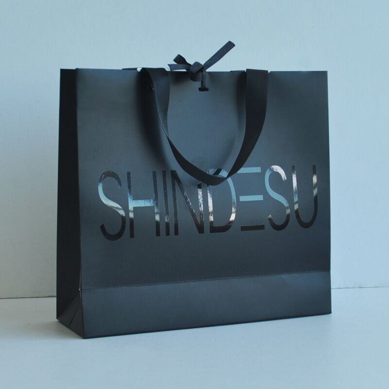 wholesale 3000pcs lot Customized shopping bag logo with wide ribbon handle  paper gift bag with black foil logo for cloth jewelry-in Shopping Bags from  … ec432563e6476