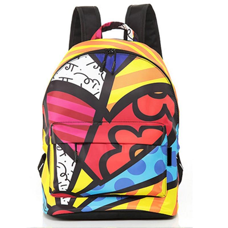 ФОТО ROMERO BRITTO 2017 Hot Sale College Wind Graffiti Backpack Satin Backpacks Travel  Bags Rucksack School bag Free Shipping