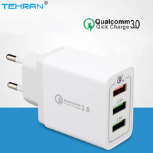 TEHRAN 3 Ports Quick Charger QC 3.0 18W Mobile Phone Charger EU Plug Wall USB Charger For iPhone Samsung Xiaomi Fast Charger vention quick charger 3 0 2 port usb charger eu plug white mobile phone charger for xiaomi htc google qc3 0 fast wall charger 3a