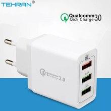 TEHRAN 3 Ports Quick Charger QC 3.0 18W Mobile Phone EU Plug Wall USB For iPhone Samsung Xiaomi Fast