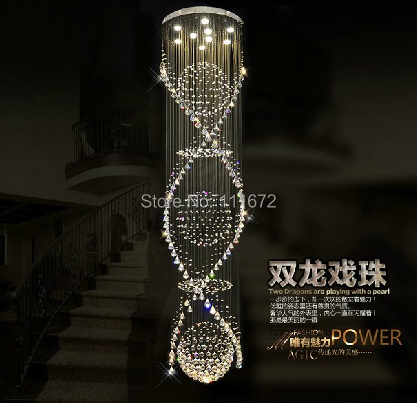 New Large Modern Crystal Chandelier LED Light Lustre Cristal Lampe AC110  240V Stairway Chandeliers In Chandeliers From Lights U0026 Lighting On  Aliexpress.com ...