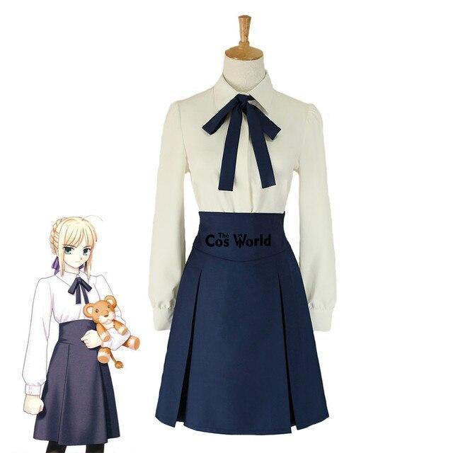 83e395f402b05 Kader/kalmak gece Saber Altria Pendragon Yüksek Bel Tunik Etek okul üniforması  Kıyafet Anime Cosplay