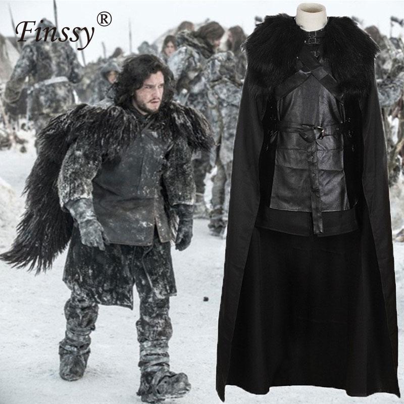 Jeu de Chanson de Glace et de Feu Jeu Fantaisie Costume Cosplay de Thrones Jon Neige Costume pour Hommes Halloween Costumes pour Adulte Avec manteau