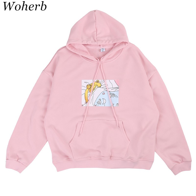 Woherb Funny Cartoon Printed Women Sweaters 2020 Japanese Fashion Pullovers Long Sleeve Casual Hooded Tops 64095
