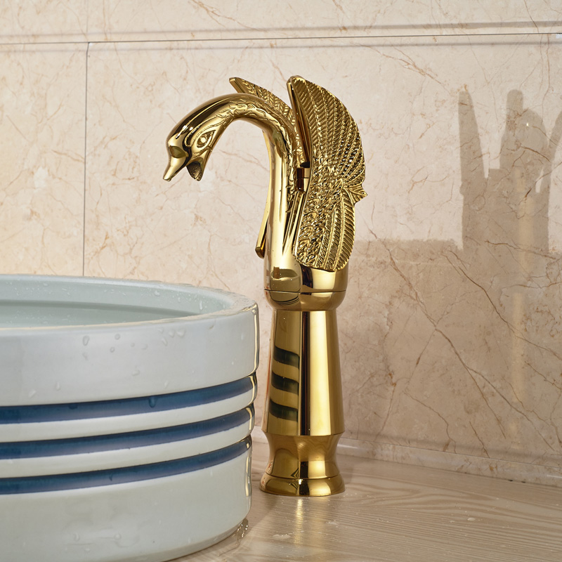 все цены на Golden Brass Tall Swan Style Bathroom Vessel Sink Basin Mixer Faucet Single Handle One Hole онлайн