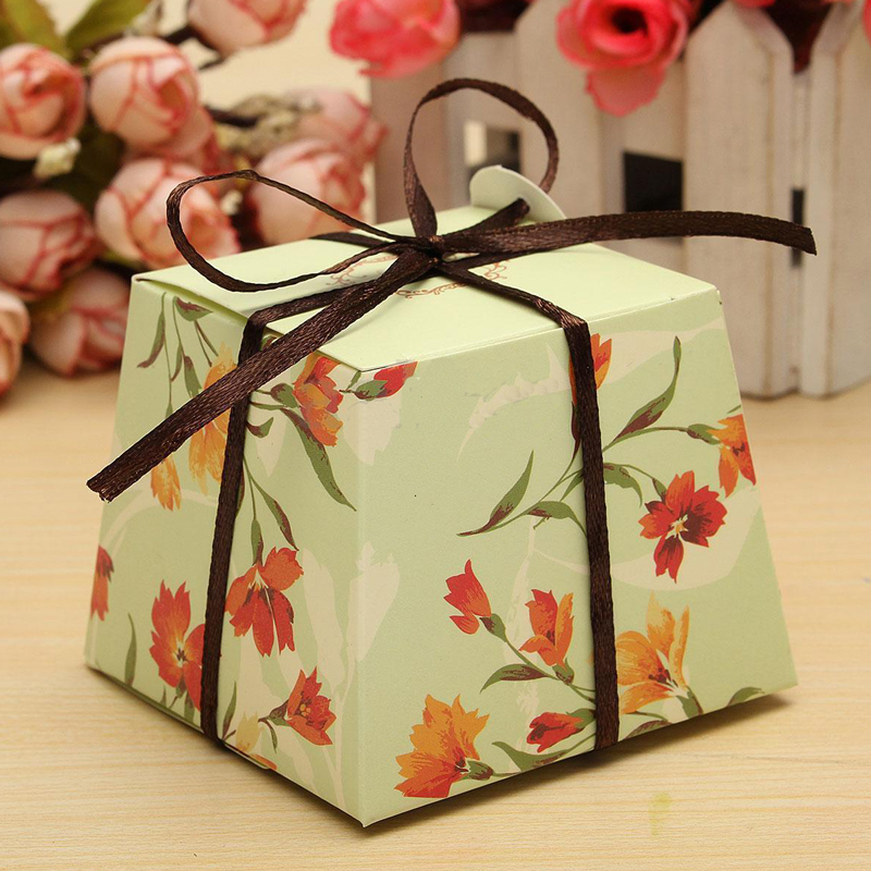 10Pcs Flower Laser Paper Case Cake Candy Boxes Ribbon Wedding Party ...