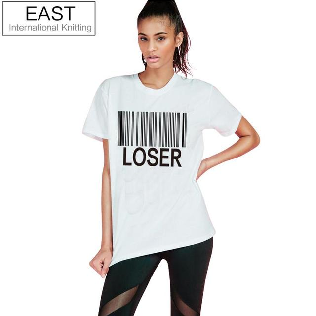 8ef7305d86b EAST KNITTING H854 Casual Barcode LOSER Printed White Short Sleeve Women T  Shirt Female O-neck Plus Size Best Friends T Shirt
