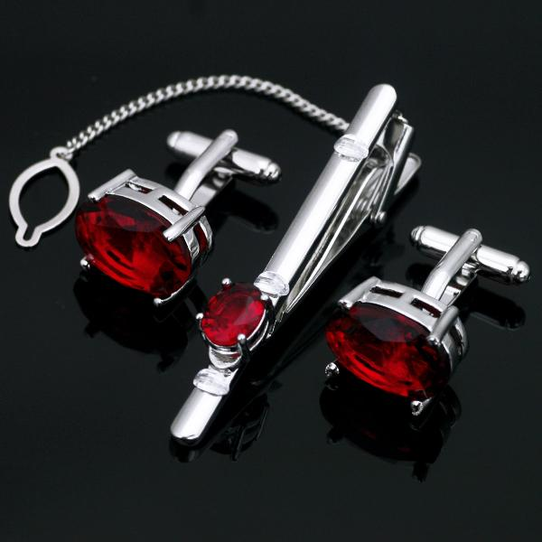 Z-207 Stainless Steel Red Crystal Tie Clip Bar and Cufflinks Set Free gift Box Men's Accessories High Quality Shirt Cuff Links breast pocket curved hem tie cuff shirt