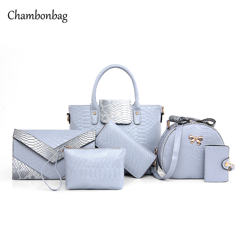Woman 6 piece Handbags Sets for Women Bags Fashion  Large Tote Crocodile Bag Lad