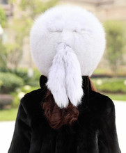 Imitation High Faux Fur Beanies Russian Fashion Winter Hats for Women Fluff Cap Soft Warm Knit Hats Beanie with tailHeadgear