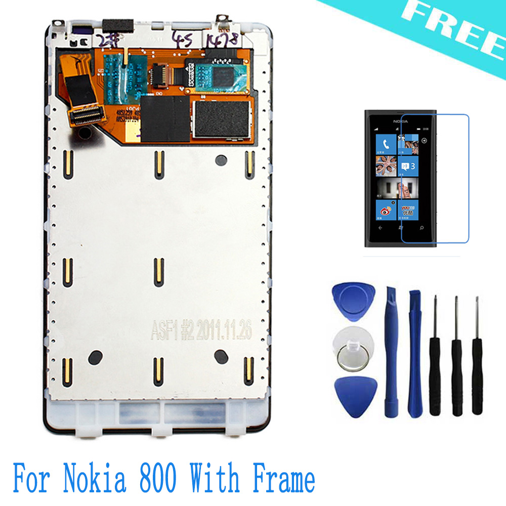 <font><b>Replacement</b></font> <font><b>For</b></font> Nokia Lumia 800 <font><b>LCD</b></font> <font><b>Display</b></font> + <font><b>Touch</b></font> <font><b>Screen</b></font> Digitizer Assembly With Frame + Tools + Clear protective film