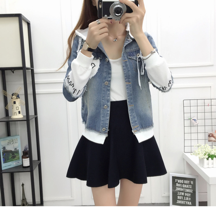 New Autumn Casual Hooded Short Denim Jacket Women Fashion Splicing Patch Coat Plus size Pockets Loose Jackets Jeans Coat Female 50