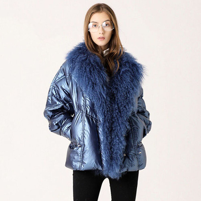 Large Real Fur Collar 2019 Winter Jacket Women 90% White Duck Down Coats Short Loose Parkas Outerwear Waterproof Glossy Jackets 2