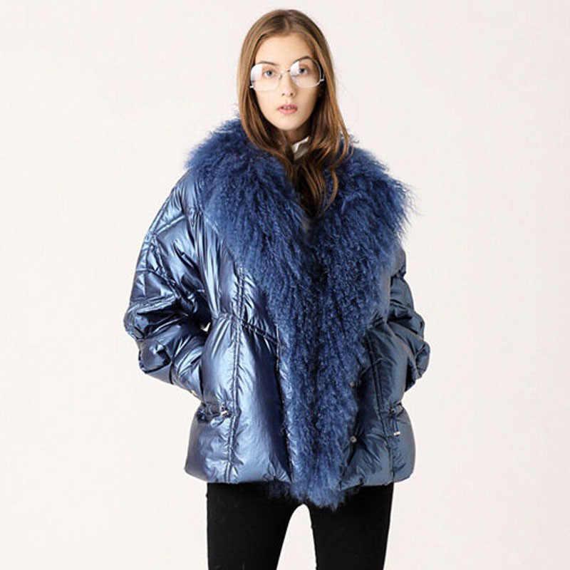 Большого размера, натуральный мех воротник 2019 зимняя куртка для женщин 90% белый утиный пух пальто короткие свободные парки верхняя одежда Водонепроницаемые блестящие куртки